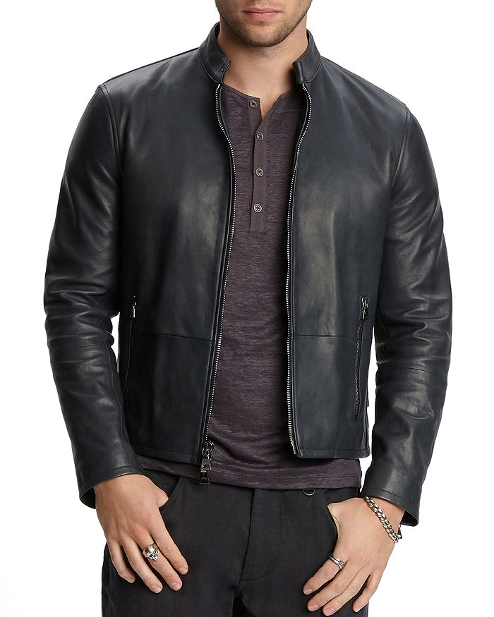 John Varvatos Collection - Zip-Front Leather Jacket
