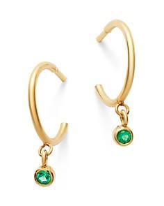 Zoë Chicco - 14K Yellow Gold Emerald Huggie Hoop Earrings