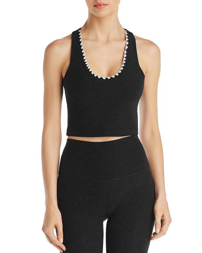 Beyond Yoga - Embroidered-Trim Space-Dye Cropped Top