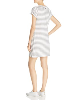 Marc New York - Striped Cinched-Sleeve T-Shirt Dress