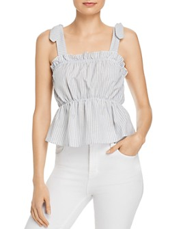 The Fifth Label - Savannah Striped Ruffled Peplum Top
