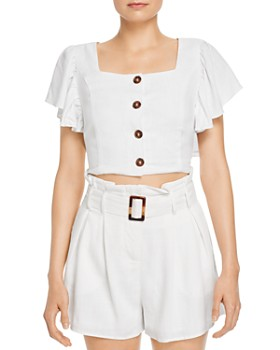 Charlie Holiday - Bayview Button-Front Cropped Top
