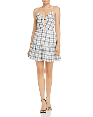 Finders Keepers Sadie Plaid Drawstring-Detail Mini Dress