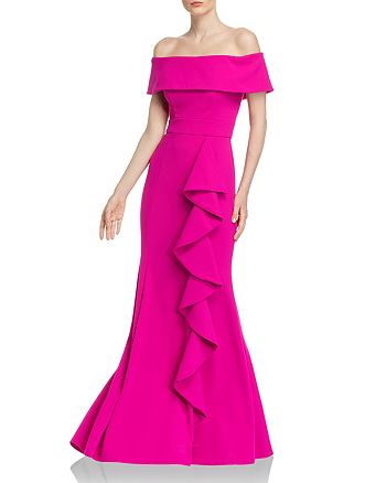 AQUA - Off-the-Shoulder Scuba-Crepe Gown - 100% Exclusive
