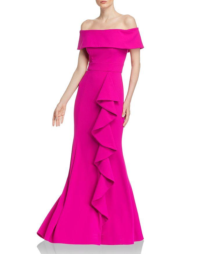 AQUA - Off-the-Shoulder Scuba-Crepe Gown - 100% Exclusive