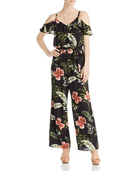 Adrianna Papell - Cold-Shoulder Tropical-Print Jumpsuit