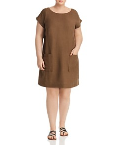 Eileen Fisher Plus - Textured Patch-Pocket Shift Dress