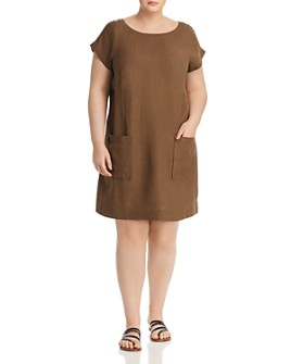 Eileen Fisher Plus - Textured Patch-Pocket Shift Dress
