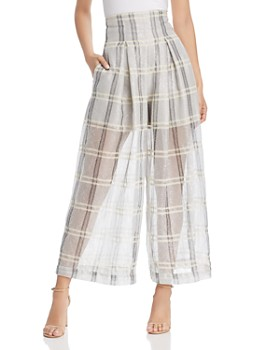 Armani - High-Waist Sheer Plaid Pants