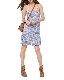 MICHAEL Michael Kors - Studded Medallion-Print Slip Dress