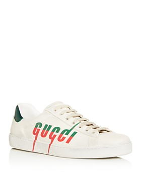 Gucci - Men's Ace Distressed Leather Low-Top Sneakers