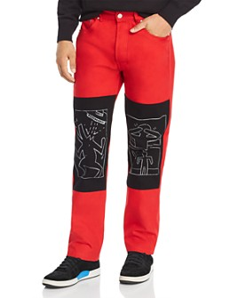 Etudes - x Keith Haring Patch-Trimmed Bootcut Jeans in Red/Black