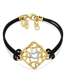 Gumuchian - 18K Yellow Gold Tiny Hearts Diamond Leather Cord Bracelet