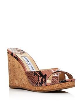 Jimmy Choo - Women's Almer 105 Crisscross Wedge Slide Sandals
