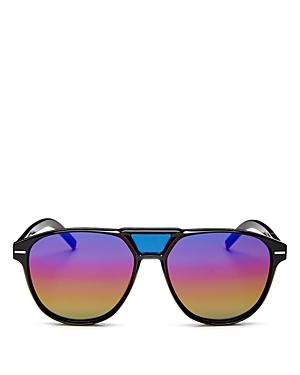 Dior Men's Black Tie Brow Bar Round Sunglasses, 56mm