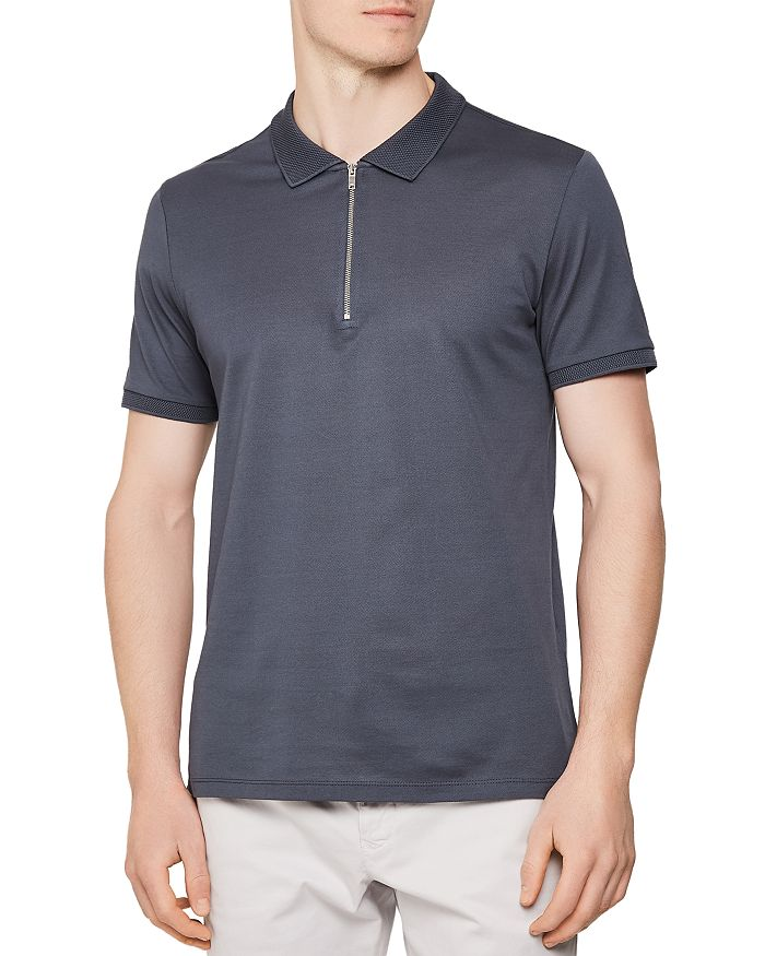 REISS - Jude Zip-Neck Slim Fit Polo Shirt