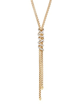 David Yurman - 18K Yellow Gold Helena Y Necklace with Diamonds, 18""