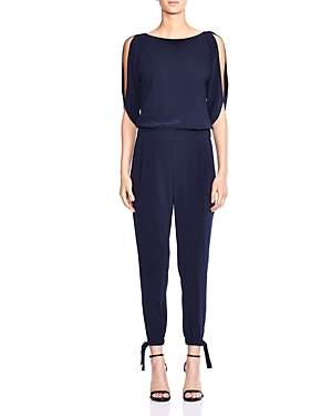Halston Heritage Slit-Sleeve Crepe Jumpsuit