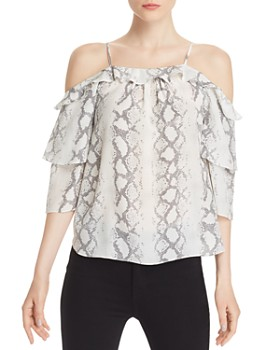 dcdea034720 Generation Love - Gwen Snake Print Cold-Shoulder Silk Top ...
