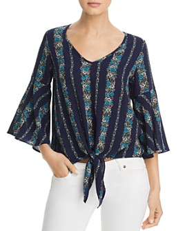 Status by Chenault - Bell-Sleeve Striped Floral Top