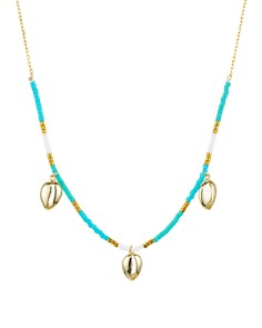 Argento Vivo - Seychelle Blue Dangle Necklace in 18K Gold-Plated Sterling Silver, 16""
