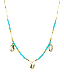 """Argento Vivo - Seychelle Blue Dangle Necklace in 18K Gold-Plated Sterling Silver, 16"""""""