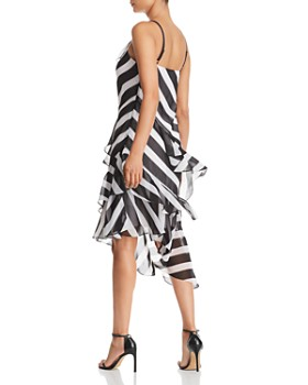 Kenneth Cole - Striped Tiered-Ruffle Slip Dress