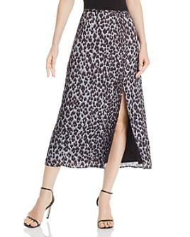 PAIGE - Delfina Blue Ice Leopard-Print Midi Skirt - 100% Exclusive