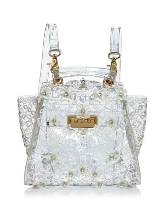 Eartha Floral Appliqué Clear Convertible Backpack by Zac Zac Posen