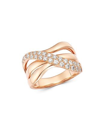 Bloomingdale's - Diamond Wave Crossover Band in 14K Rose Gold, 0.60 ct. t.w. - 100% Exclusive