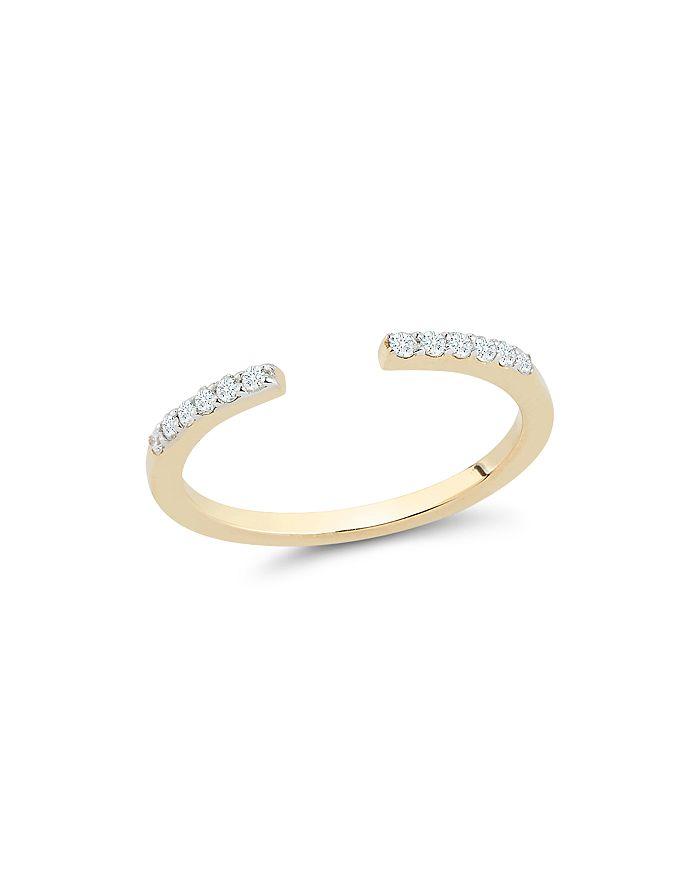 MATEO - 14K Yellow Gold Diamond Open Bar Ring