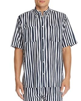 WeSC - Short-Sleeve Striped Regular Fit Button-Down Shirt