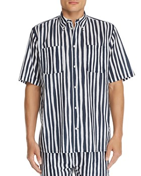 WeSC - Short-Sleeve Striped Regular Fit Button-Down Shirt