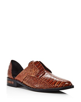 Freda Salvador - Women's Wear Laceless Croc-Embossed d'Orsay Leather Oxfords