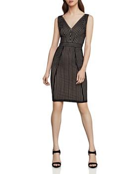 BCBGMAXAZRIA - Striped-Lace Sheath Dress