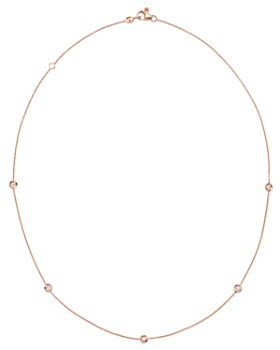 Roberto Coin - 18K Rose Gold Diamond by the Inch Station Necklace, 18""