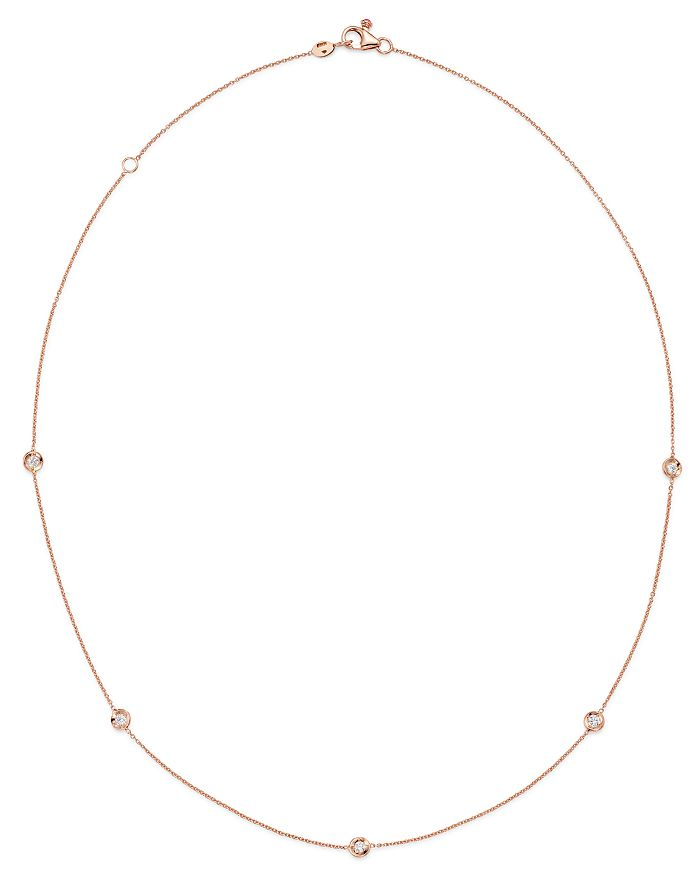 """Roberto Coin - 18K Rose Gold Diamond by the Inch Station Necklace, 18"""""""