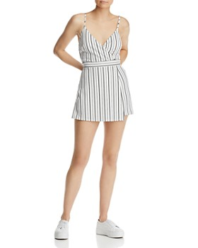 AQUA - Skirt-Overlay Striped Romper - 100% Exclusive