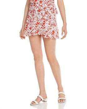 AQUA - Floral Mini Wrap Skirt - 100% Exclusive