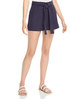 AQUA - Fold-Over Belted Shorts - 100% Exclusive