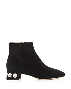 Miu Miu - Women's Rocchetto Crystal-Embellished Booties