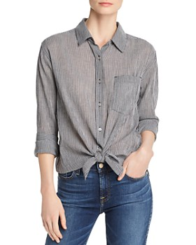 7 For All Mankind - Micro Gingham Tie-Front Button-Down Shirt