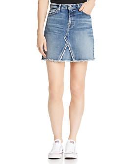 7 For All Mankind - Frayed-Hem Denim Mini Skirt