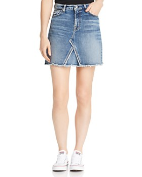 7 For All Mankind - Frayed-Hem Denim Mini Skirt