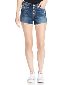 True Religion - Colette Button-Fly Denim Shorts