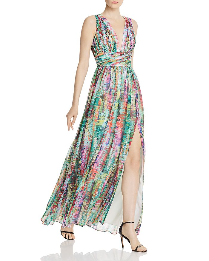 Aidan by Aidan Mattox - Pleated Chiffon Print Dress