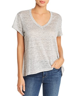 Wilt - Asymmetric Striped Linen Tee