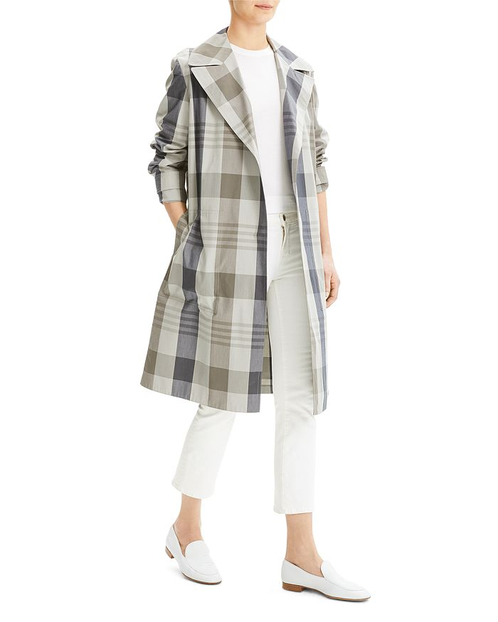 Theory - Military-Style Plaid Trench Coat