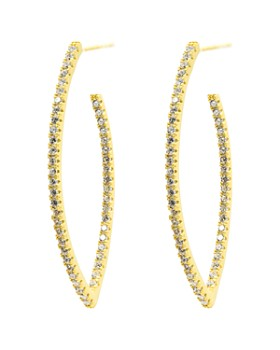 Freida Rothman - Signature Allover Pavé Pointed Hoop Earrings in 14K Gold-Plated Sterling Silver