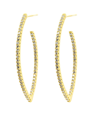 Freida Rothman Signature Allover Pave Pointed Hoop Earrings in 14K Gold-Plated Sterling Silver